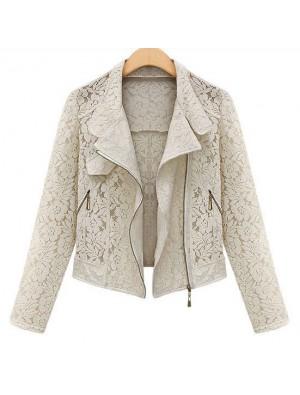Dünne Spitze Revers Reißverschluss-Jacken-Mantel