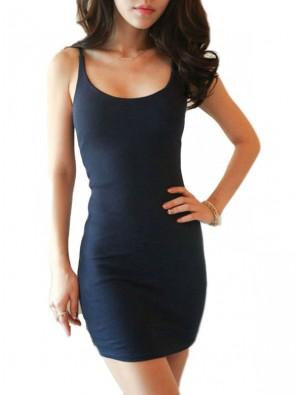 Reizvoller Hosenträger O-Ansatz Solide Baumwolle Kleid
