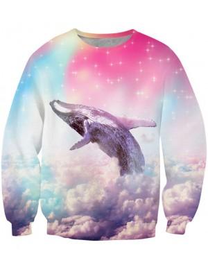 Neu Einzigartig 3D Star Delphin Drucken Sweatshirts