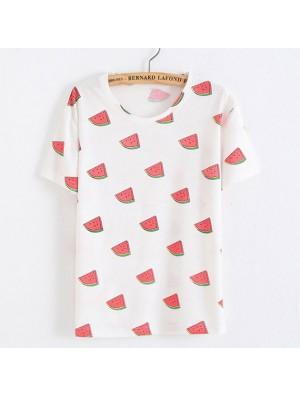 Freizeit rote Wassermelone gedruckt Obst Baumwolle weiß T-Shirts