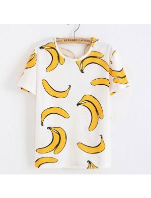 Frische gelbe Banane gedruckt Baumwolle lustige Obst weiße T-Shirts