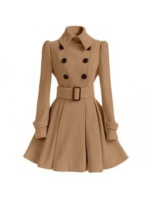 Mode Damen Herbst Winter mittleren Stil Zweireiher Stehkragen Faltenrock Silm Wollmantel