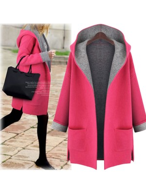 Frauen mit Kapuze lose Woolen Cardigan Jacke Large Size langärmeligen Wollmantel