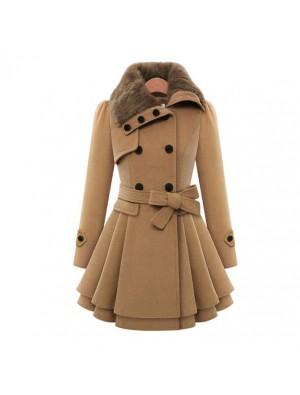 Damen Wolle Mantel Zweireihig Dicker Mantel Windjacke Winter Kleid