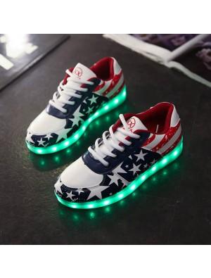 Star Print USB bunte LED leuchtende Paar Sportschuhe
