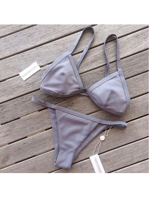 Sexy Leaf Print Split Bikini Badeanzug Kreuzgurte Bademode Badeanzug