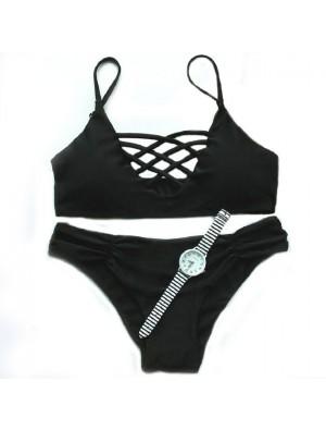 Multipure Sexy Black Rope Bikini Badeanzug Bademode Badeanzug
