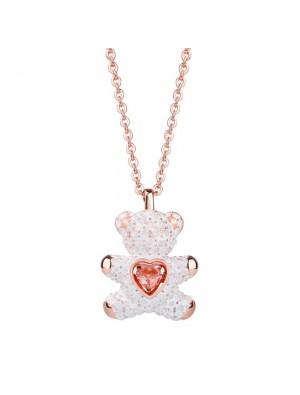 Mode Herz Schmuck rosa Diamant Liebhaber Geschenk Frauen Halskette Teddybär Anhänger Silber Halskette