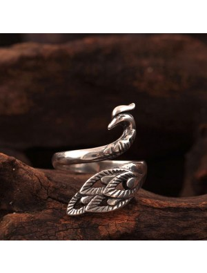 Volks Stil Pfau Öffne den Ring Original Silber Phönix Ring