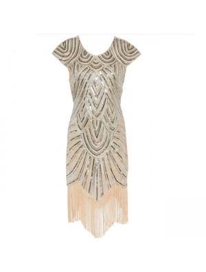 Mode Damen Pailletten Quasten Kleid Luxus Abendkleid