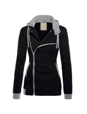 Mode Spleißen drehen-unten Kragen Mantel Hoodies Mantel Winter Warme Herbst Frauen Jacke Pullover