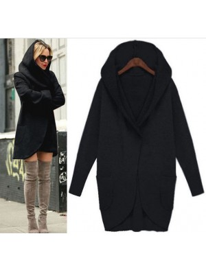 Pure Solid Color Jacke Tasche langärmelige lose Wolljacke Mantel