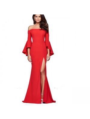Elegante Frauen lange A-Linie Kleider Sexy Schlitz Rüschen Ärmel Partykleid