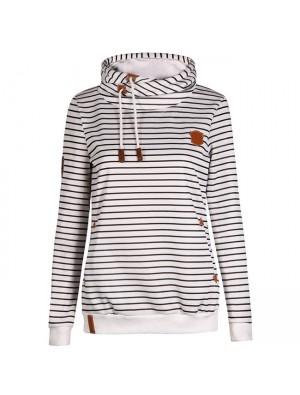 Herbst Winter Damen Casual Striped Hoodie Pullover Pullover Kaschmir Wolle Sport Mantel