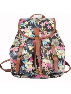 Einzigartig Geometrische Muster Blumen drucken Blumen Zwei Taschen Löffel Segeltuch Rucksack