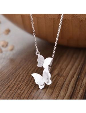 Süße doppelte Schmetterling Silber Liebhaber Geschenk Frauen Halskette
