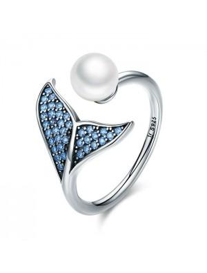 Süße Meerjungfrau Schwanz Perle Zirkon offenen Silberring