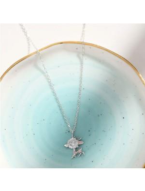 Süße Elch Freundin Geschenk Anhänger Hirsch Kristall Silber Frauen Halskette
