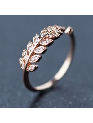 Süße Blätter Form Diamant-umrandeten Silber reine Feder offenen Ring