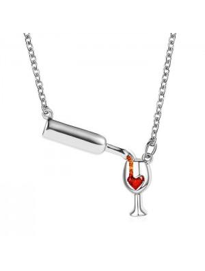 Kreative Weinflasche Halskette Herz Kristall Rotwein Tasse Becher Anhänger Schlüsselbein Kette Halskette