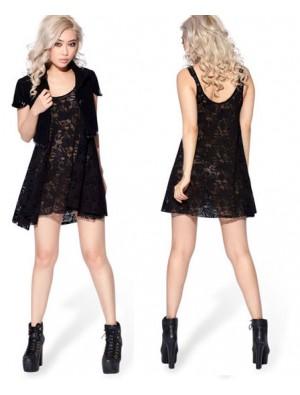 Reizvolle schwarze Spitze gestickte Weste-Kleid-Hemd