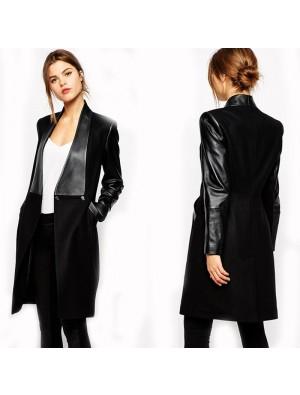 Frauen PU Leder Taschen Langarm Slim Fit Bodycon Mantel Jacke