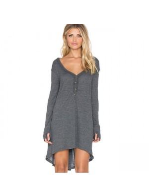 Mode lässig unregelmäßige Langarm V-Ausschnitt lose T-Shirt Kleid