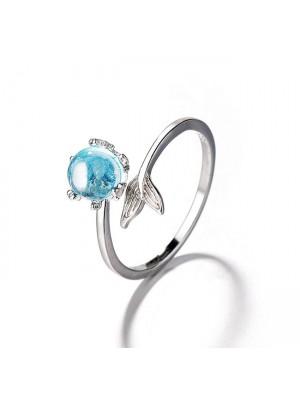 Mode Meerjungfrau Schwanz Liebhaber Geschenk Opal Open Silber Frauen Ring