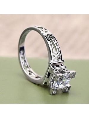 Liebe-Paris-Eiffelturm Design Romantische Inlay Zirkon Ring