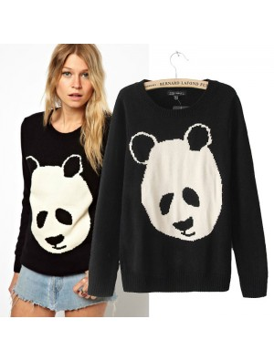 Schöne Cartoon Panda Print Sweater