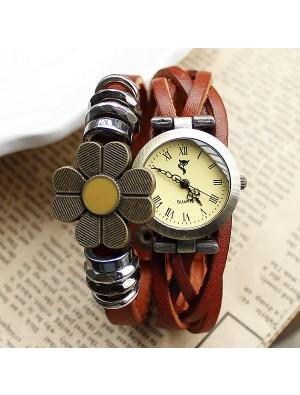 Retro Weben Sonnenblume Armband Uhr
