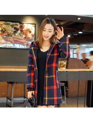 New Lace Sleeve langen Gitter Mantel Hoodie warme Frauen Pullover Tops Mantel