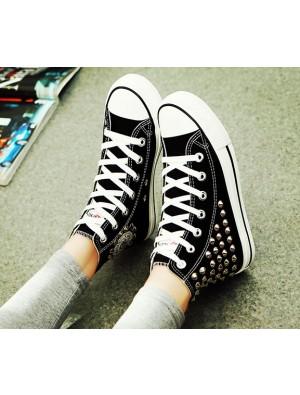 Punk Stil Niet Hoch-Spitze Leinwand Schuhe