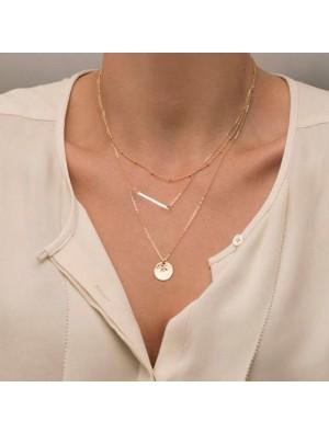 Besondere Geometrische Pailletten Mehrschichtige Halskette / Set