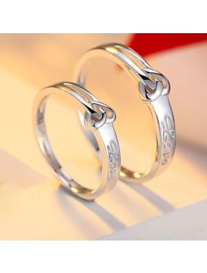 Süßen Heart-shaped Knot 925 Schriftzug Paar Ringe