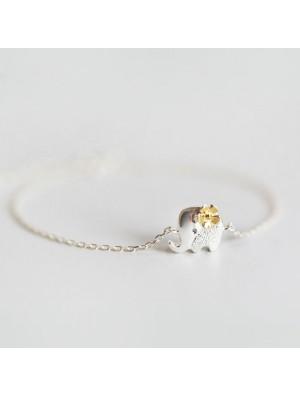 Frische gelbe Blume Silber niedlich Elefant Armband