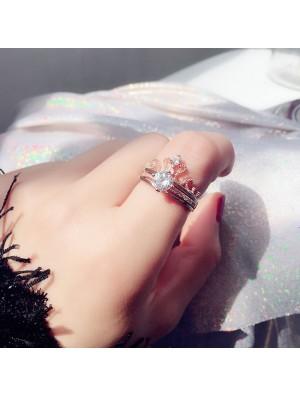 Glänzende Krone Design einstellbar Silber Diamant Frauen Doppelring