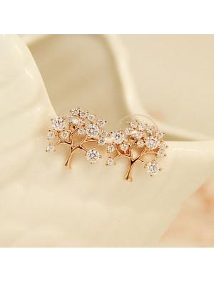 Baum des Lebens Hohleinlegearbeit -Diamant Mode glänzende Lady Ohrringe