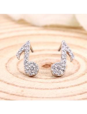 Sterling Silber Elegante Music Note Glänzende Diamant Lady Ohrringe