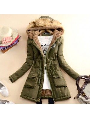 Schlank Wolle mit Kapuze lange Winter-Baumwollmantel