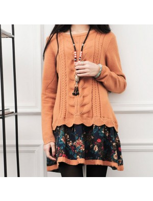 Winter Lose Strickwaren Spleißen Twist-Muster Blume Mantel Pullover Kleid