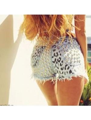 Sommer-reizvolle Frauen-hohe Taille zerrissenes Loch-Niet-Wäsche-Denim-Jeans-Kurzschluss-Hosen