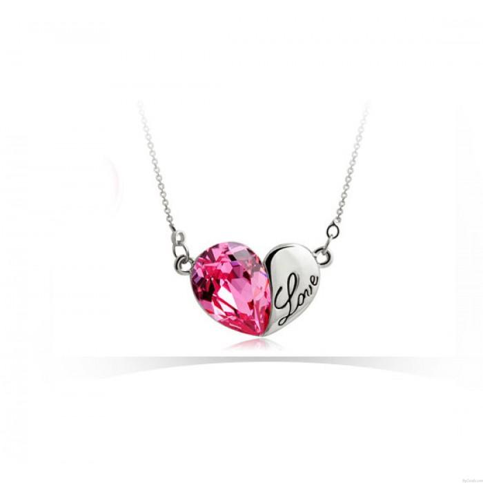 Herz-Form-Liebesbrief-Kristall Halskette