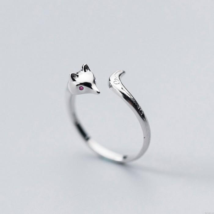 Schön Fuchs Schwanzmuster schnitzen Silber Offener Ring Tierschmuck Ringe