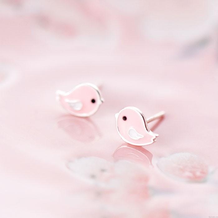 Niedliche rosa Vogel Silber Ohrringe Ohrstecker süße Tier Ohrringe