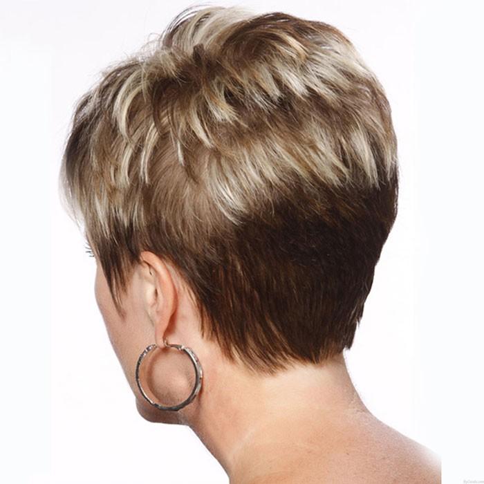 Mode Licht Golden Diagonal Pony Kurzes Haar Reife Frauen Haar Perücken
