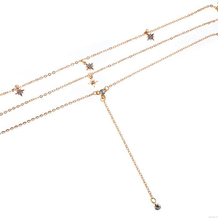 Mode Gold Kristall Mehrschichtige Kette Anhänger Halskette Damen Kombinationsset Star Halskette