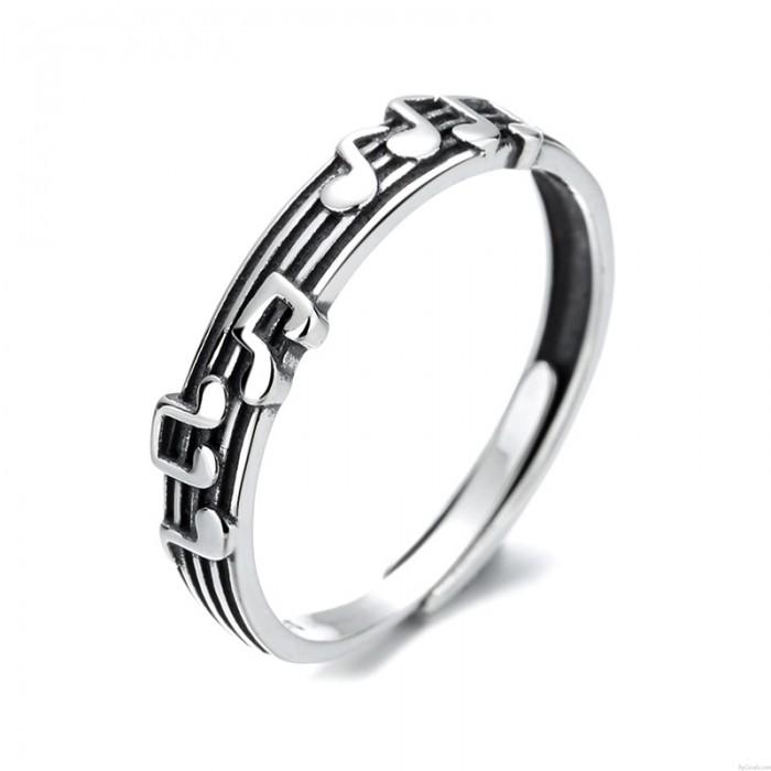 Einzigartige Musiknoten Sterling Silber Musikschlüssel Open Ring Einstellbares Geschenk für Musikliebhaber Liedringe