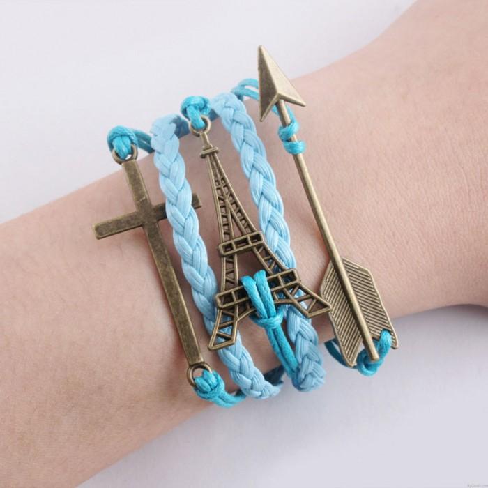 Eiffelturm Pfeil Kreuz geflochtene Armbänder
