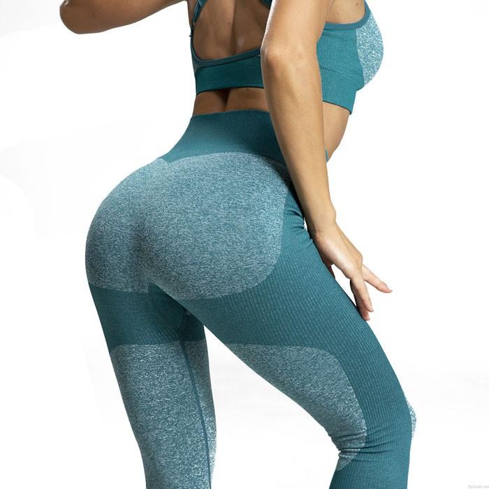 Sexy gestrickte Gesäße Spleiß Yoga Hose Sport Fitness Schlank Gamaschen